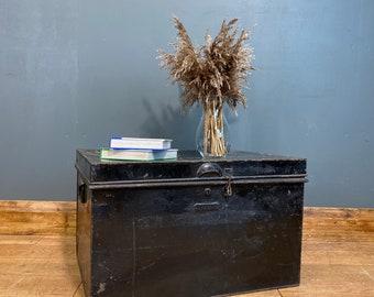 Vintage Black Trunk / Vintage metal Chest/Trunk Coffee Table /Rustic Box Storage