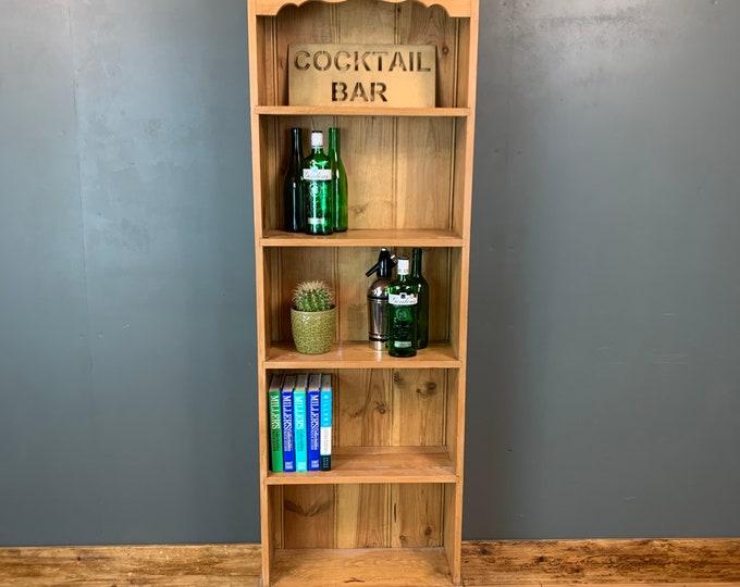 Vintage Bookcase / Slim Pine Bookcase / Rustic Shelving / Vintage Shelving / C