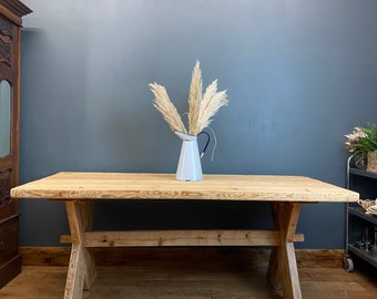 Vintage Pine Kitchen Table / Rustic Refectory Table / Chunky Farmhouse Table