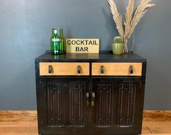 Vintage Art Deco Oak Cupboard Rustic Sideboard  Drawers Painted Black Distressed