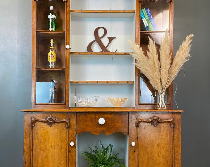 Antique Pine Dresser / Victorian Pine / Rustic Kitchen Cupboard / Kitchen Pantry