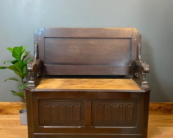 Vintage Carved Oak Metamorphic Monks Bench/ Oak Settle/ Oak pew / Sideboard