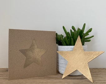 Gold metal star / gift card / birthday gift / present / miss you card / wall decor