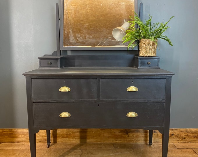 Vintage Chest Of Drawers / Bedroom Dresser / Black Chest Of Drawers /