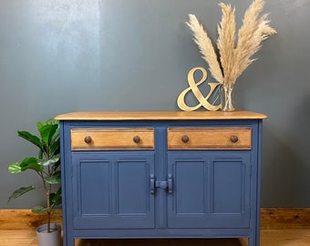 Vintage Ercol Sideboard / Painted Sideboard / Rustic Cupboard / Shabby Chic Blue