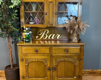 Vintage Glazed Oak Dresser / Rustic Kitchen Cupboard / Kitchen Pantry / Display