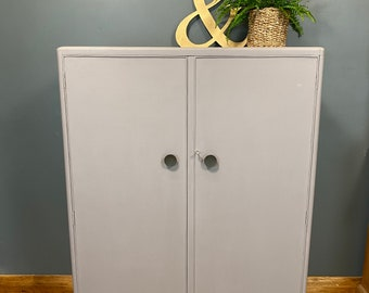 Vintage Gentlemen's Wardrobe/ Tallboy / Bedroom Cupboard / Painted Grey