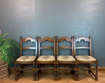 4 Vintage upholstered Dining Chairs Made By Reprodux Seating Kitchen