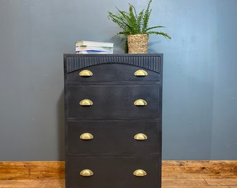 Vintage Chest Of Drawers / Slim retro Chest Of Drawers / Black