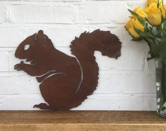 Rusty SQUIRREL Lettering Letters Sign Metal Shop Front Home Garden Ornament
