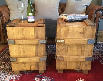 2 Vintage Pine Wooden Trunk Box Bedside Cabinet Cupboards Chest Coffee End Table