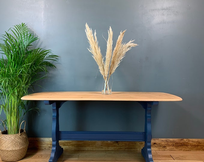 Rustic Rectangle Retro Elm Ercol Table Country KItchen Dining Painted Blue