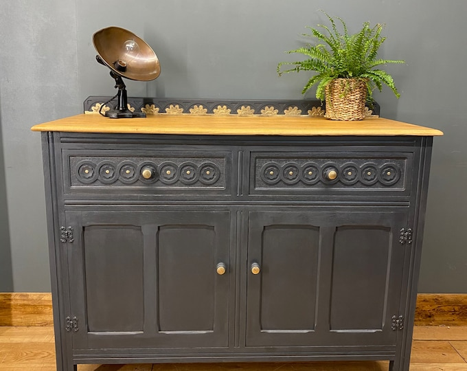 Vintage Oak Sideboard / Painted Sideboard / Shabby Chic Cabinet / Navy Blue