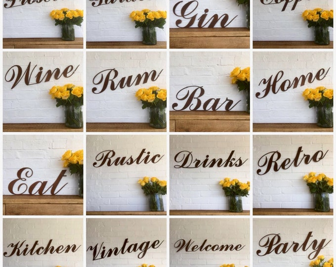 Rusty metal word signs plaques shop sign  signage rustic wedding bar gin cocktails signage wall art
