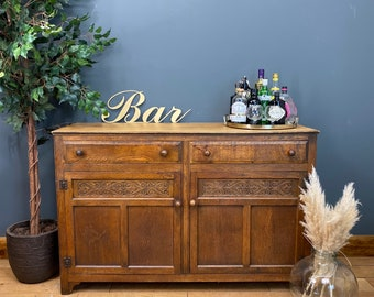 Vintage Oak Sideboard / Rustic Home Bar / Oak Cupboard / Cocktail Cabinet
