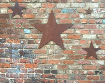 5 Rusted STARS Industrial Sign Metal Shabby chic Christmas decoration Shop Home