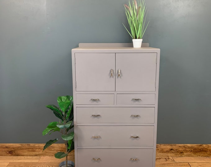 Tallboy Chest Of Drawers / Painted Drawers / Bedroom Cupboard / Painted Grey
