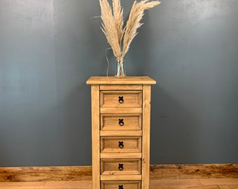 Pine Chest Of Drawers / Tall Drawers / Rustic Drawers / Bedroom Storage