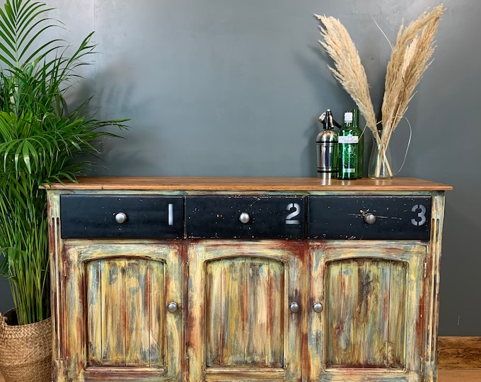 Vintage Cupboard Drawers Sideboard Painted Pine Shabby Chic Upcycled Industrial