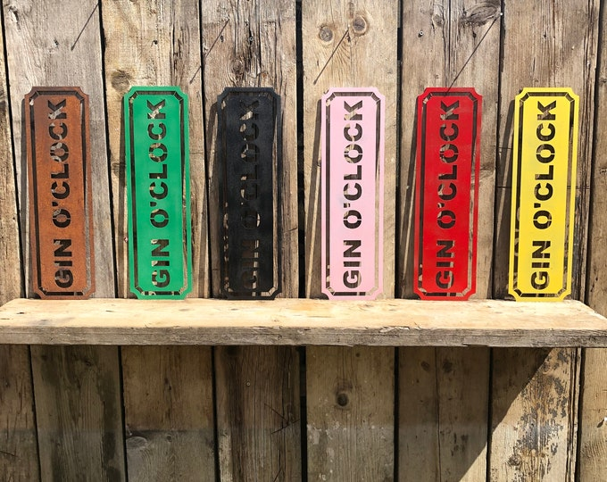 Rustic colourful GIN O CLOCK Word Sign Metal Shop Home Rustic Pub Cafe Bar Cocktails Drinks