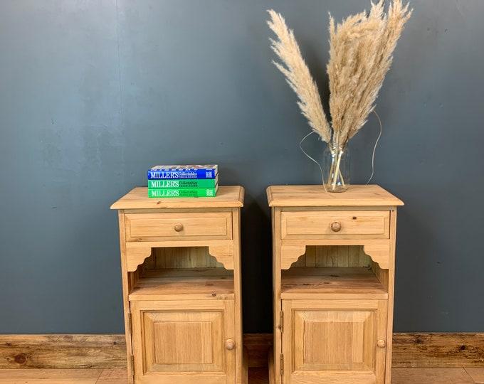 Pair Of Rustic Pine Drawers / Bedside Drawers / Bedroom Storage / Lamp Tables
