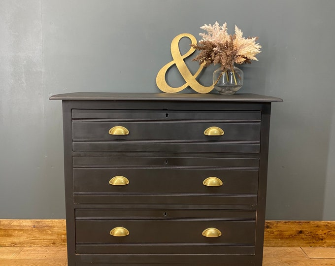 Vintage Chest Of Drawers / Painted Drawers/ Rustic Chest Of Drawers / Black