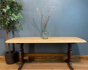 Vintage Ercol Refectory Table / Elm Dining Table / Mid Century Kitchen table