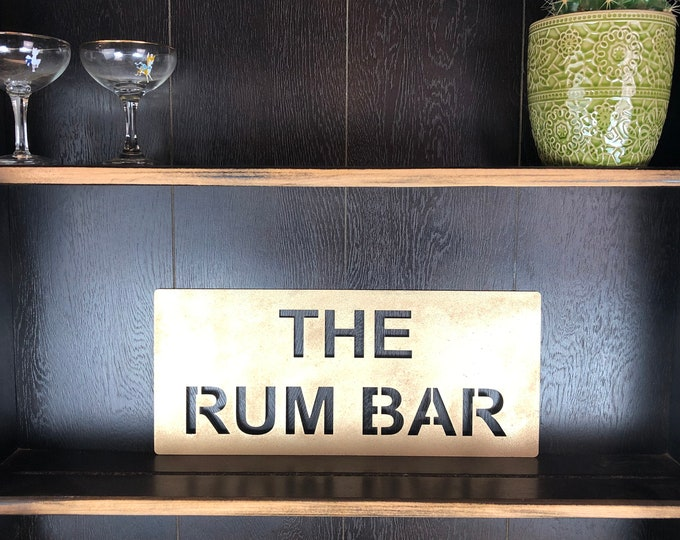 Gold THE RUM BAR Plaque Word Sign Metal Shop Home Rustic Pub Cafe Bar Cocktails Drinks Gin