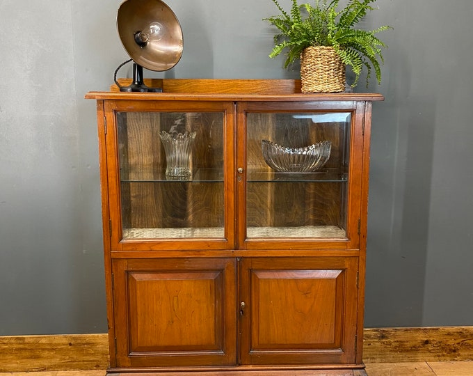 Antique Glazed China Cabinet / Mahogany Sideboard / Glazed Display Display Unit