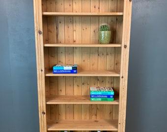 Vintage Bookcase / Tall Pine Bookcase / Rustic Shelving / Vintage Shelving / E