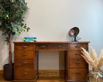 Vintage Oak Table / Rustic Teachers Desk / Oak Kitchen Table / Office Desk / antique desk / edwardian desk