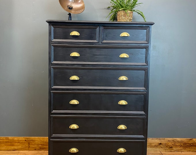 Vintage Drawers / Painted Upcycled Drawers / Black Chest Of Drawers / Tall
