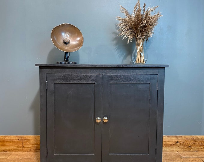Oak Sideboard / Black Cabinet/ Rustic Upcycled Cupboard / cocktail cabinet