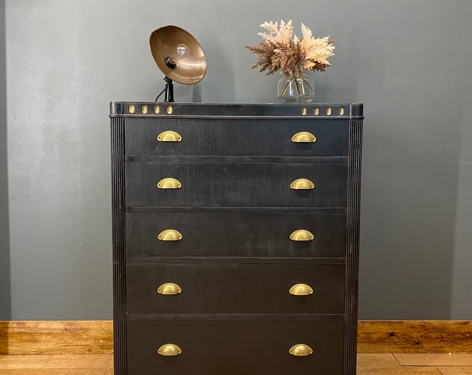 Vintage Tall Chest Of Drawers / Painted Drawers/ Rustic Chest Of Drawers / Black