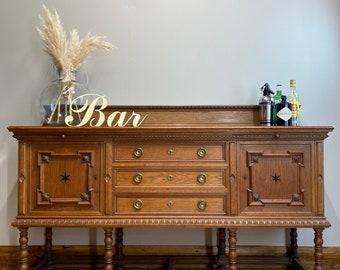 Antique Oak Sideboard/ Oak Buffet Server / Antique Arts And Crafts /Oak Cupboard / home bar / cocktail cabinet