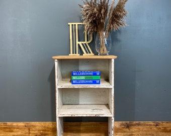 Vintage Pine Side Table / Rustic Lamp Table / Bedside Shelves / Plant Stand