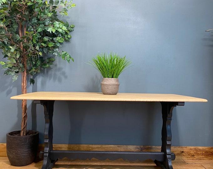 Vintage Refectory Table / Oak Kitchen Table / Rustic Farmhouse /Solid Oak