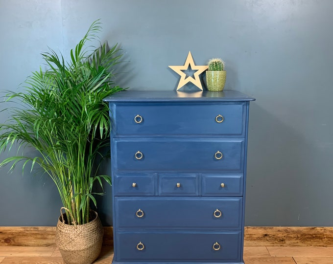 Vintage Tall Upcycled Shabby Chic Chest Of Drawers Painted Light Blue By Stag