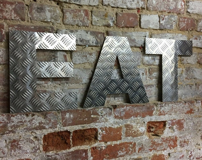 EAT SIGN , ALUMINIUM metal letters , home bar sign , garden sign , food sign , bbq area sign , kitchen sign , garden bar sign , rustic decor