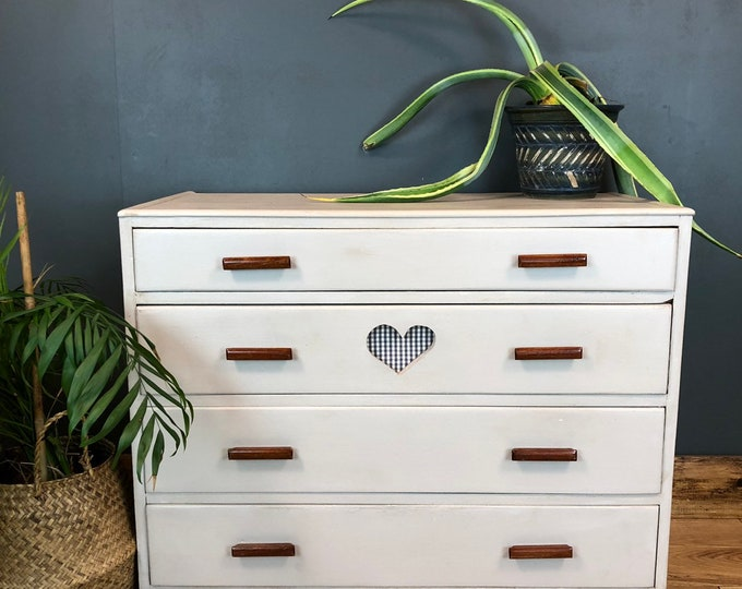 Vintage Chest Of Drawers Shabby Chic Sideboard Cabinet Painted Bedroom Storage