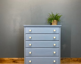 Vintage Chest Of Drawers / Painted Drawers/ Rustic Chest Of Drawers / Light Blue