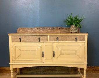 Vintage Oak Sideboard / Painted Sideboard / Shabby Chic Cabinet / Cream