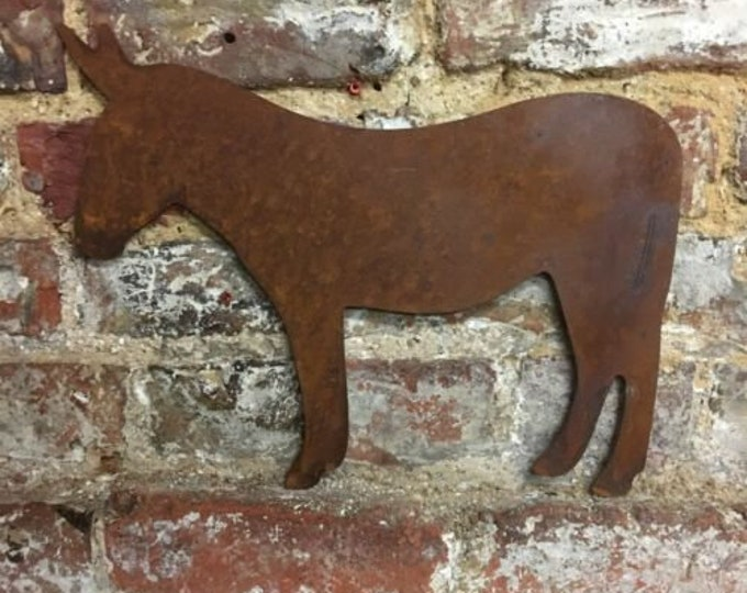 Rusty GARDEN ORNAMENT , DONKEY Sign , Rusty Metal , Wall decor , Garden feature , metal garden decoration  , Animal sign , farmyard animal