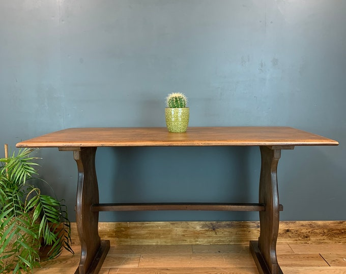 Vintage Solid Mahogany Dining KITCHEN  Table RUSTIC farmhouse Country