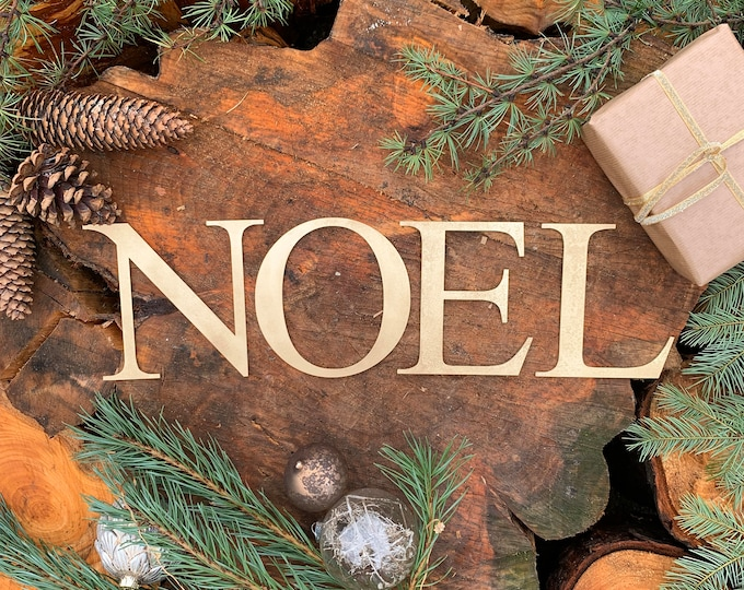 Rustic Gold NOEL mantle CHRISTMAS Lettering Word  Sign Metal Nordic decoration