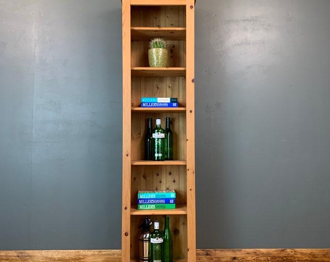 Vintage Bookcase / Slim Pine Bookcase / Rustic Shelving / Vintage Shelving / D