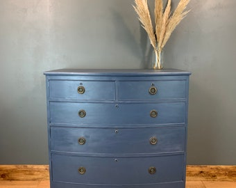 Vintage Bow Front Chest Of Drawers Shabby Chic Sideboard Painted Bedroom Blue