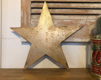 Rustic gold STAR metal letter. initials, house name, lettering, rusted, coffee shop, eat numbers, barbers, home, love, gin tea