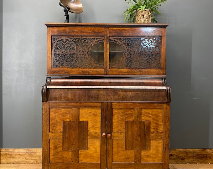 Antique Glazed Cabinet / Mahogany Sideboard /Cocktail Cabinet / Upcycled Piano