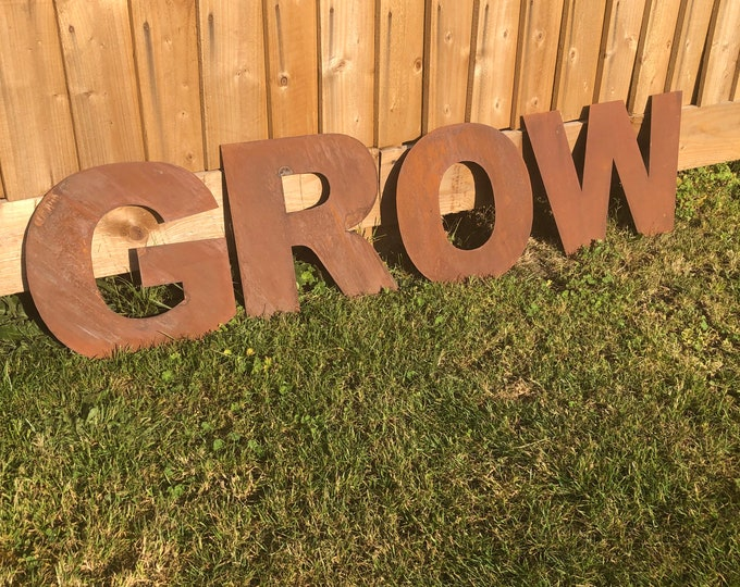 """Rusty metal 12"""" GROW Letters garden sign , Rustic Garden decoration , Vegetable marker , Vege Patch sign , Plants sign , Flowers sign"""